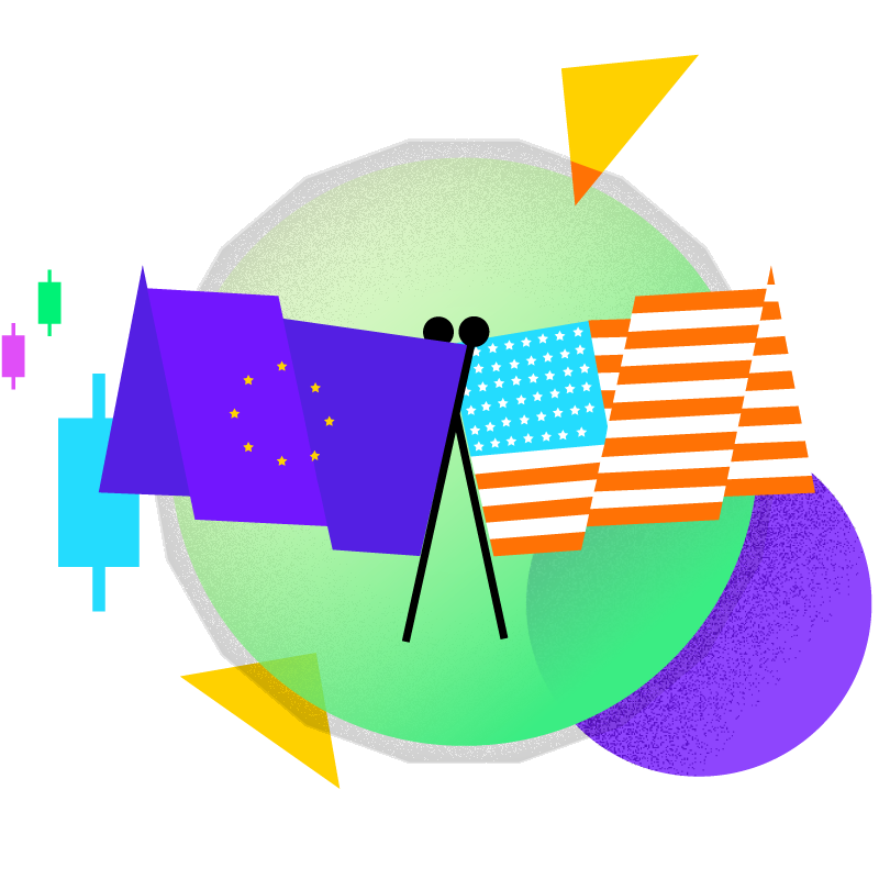 European Union and the United States of America Flags